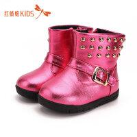 【1件2折后:35.8元】红蜻蜓童鞋冬季新款柳钉二棉保暖防水防滑女童雪地靴儿童靴子