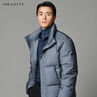 【1件4折价:479.6】MECITY男装2019冬季新款保暖时尚短款立领简洁羽绒服男