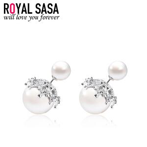 皇家莎莎925银后挂式耳钉女士大气优雅贝珠耳环个性百搭耳挂饰品