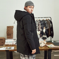 [2.5折价249.5元叠加200-30】唐狮冬季新款羽绒服男中长款修身韩版连帽青年黑色加厚外套