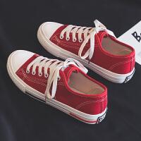 2019春季新款春款帆布女鞋韩版百搭学生黑色布鞋休闲潮鞋小鞋 R550红色