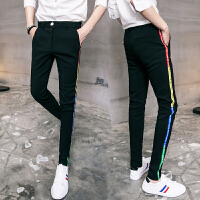 17四季男士韩版修身弹力小脚裤子潮流青年学生彩色织带点缀休闲裤