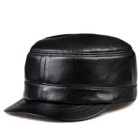 秋冬帽子男士羊皮帽子休闲军帽女士潮平顶军帽鸭舌帽