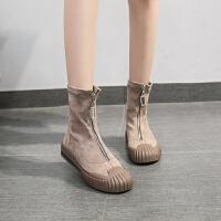新款前拉链绒面短靴马丁靴潮韩版弹力靴袜子鞋网红百搭女鞋 卡其色 标准码