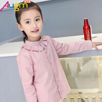 奥戈曼  童装女童春款长袖荷叶领衬衣中大童儿童女孩韩版春装纯棉上衣衬衫