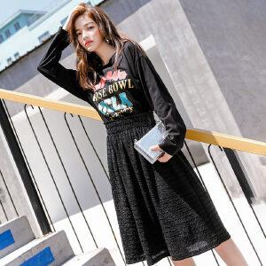 七格格时尚假两件套裙子秋季新品韩版黑色长袖收腰印花连衣裙