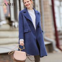 【到手价:630元】Amii极简英伦阿尔卡巴双面毛呢外套女2019冬新款双排扣双面呢大衣