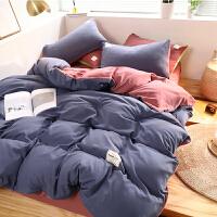 纯棉床上四件套全棉被套两件套单人床单三件套学生宿舍网红款床笠 紫色 豆沙 纯色双拼