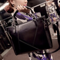 包包新款欧美时尚女包手提斜挎包商务通勤公文包女士大包包 拼接黑色 送卡包+钱包