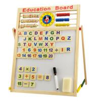 乐乐鱼实木儿童画板画架支架式家用宝宝双面磁性黑白板写字板立式(黑板擦一个,水彩笔一支,粉笔一盒。五个运算符号贴,26个
