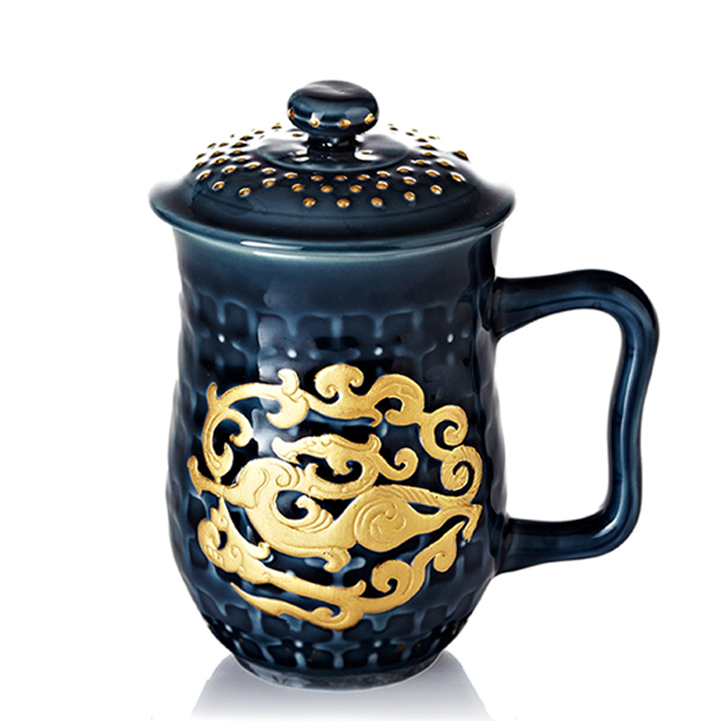乾唐轩活瓷 鎏金势在必得高杯陶瓷茶杯办公水杯子商务礼品