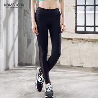 【到手价99】Kombucha瑜伽裤2018新款女士网纱拼接透气紧身弹力高腰长裤跑步健身打底长裤YGP52