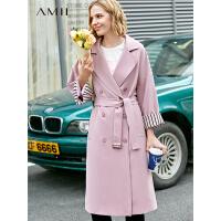 【到手价:351元】Amii极简欧货时尚潮风衣女2019秋季新款翻领配腰带直筒中长外套