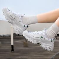 幸运叶子 斯凯奇女鞋冬季新款时尚熊猫鞋厚底增高休闲鞋板鞋11931-WGR