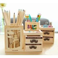日韩创意办公文具   糖果色七巧板镂空铁塔木质笔筒 韩版双层抽屉笔筒 笔架桌面收纳工具