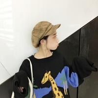 韩国chic文艺复古腔调格子贝雷帽女画家八角帽子女百搭秋冬鸭舌帽 M(56-58cm)