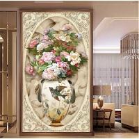 新款客厅玄关钻石画竖版古典花瓶贴钻十字绣花卉牡丹花开富贵满钻