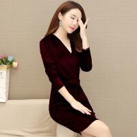 金丝绒修身长袖韩版连衣裙秋冬新款V领包臂中长款气质显瘦黑色裙