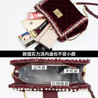 女包2019新款小香风斜挎包单肩包女丝绒质感包包女时尚网红小黑包