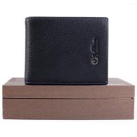 金利来(Goldlion)卡包男 商务休闲男士横款牛皮卡包礼盒简约卡包 黑色