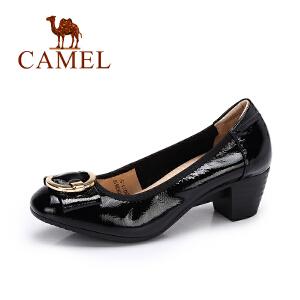 Camel/骆驼女鞋 2017秋季新款 优雅漆皮单鞋女 蝴蝶结粗跟单鞋