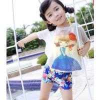 韩版儿童泳衣可爱女孩女童游泳衣中大童分体比基尼女宝宝学生泳装