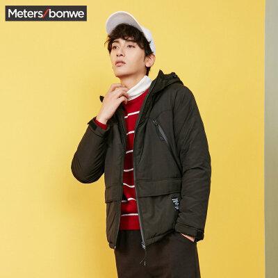 【618返场购,每满200减100】美特斯邦威外套男冬装新款军事风潮流迷彩连帽棉衣短款棉服S