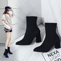 新款短靴女秋冬袜子靴粗跟弹力靴女鞋高跟尖头中筒靴英伦风马丁靴