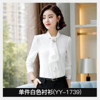 职业白衬衫女长袖雪纺衫围巾领蝴蝶结打底衬衣外穿春秋工作服 白色