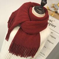 韩版围巾女士纯色秋冬季长款加厚学生百搭针织毛线保暖少女围脖男