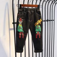 男童裤子小儿童秋冬装长裤宝宝一体绒牛仔裤