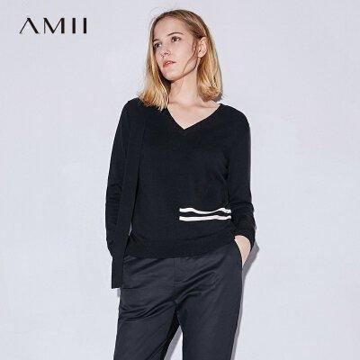 【大牌清仓 5折起】Amii[极简主义]2017秋装新款直筒V领飘带撞色条纹毛衣11734576