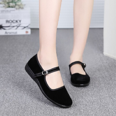 老北京布鞋女黑小布鞋平跟服务员酒店工作鞋黑色平底妈妈单鞋大码 黑色