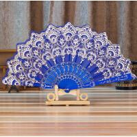 创意扇子企业商务*炫彩中国风烫金扇子女士折叠舞蹈扇子可定制礼品