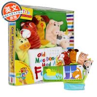 英文原版童书 Old Macdonald: A Hand-Puppet 精装 手偶书动物农场 趣味书 布书 纸板书