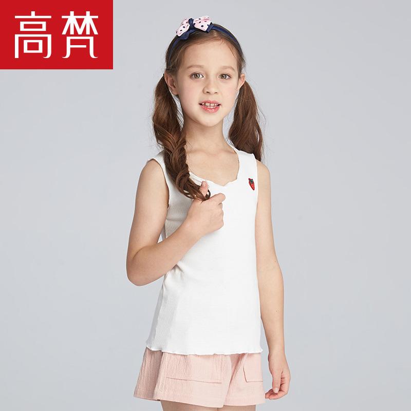 高梵 2018新款童装 儿童吊带背心女 公主夏季圆领小孩时尚背心T恤