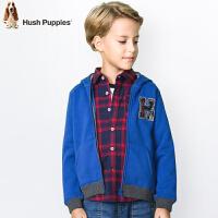 【3件3折:113元】暇步士童装男童冬装新款中大童开身卫衣儿童连帽一体绒外套
