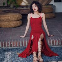 原创巴厘岛海岛度假沙滩裙吊带长裙夏季海边性感大露背雪纺开叉连衣裙GH04 红色