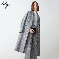 【25折到手价:329元】 Lily春新款女装商务格纹过膝长款系带双排扣风衣119110C1226