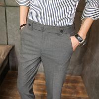 免烫浅灰色男士西裤年春夏修身型小脚裤青年发型师九分休闲裤