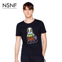 NSNF手绘卡通人物刺绣纯棉黑色圆领T恤男 短袖t恤男装2017新款 修身圆领针织短袖