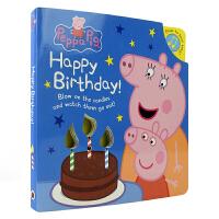 Peppa Pig Happy Birthday 粉红猪小妹小猪佩奇 生日快乐英语纸板发声书 蜡烛亮灯感应气流可吹灭 英