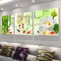 家和富贵钻石画满钻客厅三联画现代简约清新钻石绣竹子十字绣新款G