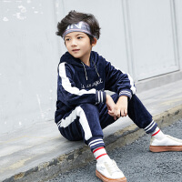 男童冬装套装儿童秋冬季中大童金丝绒男孩两件潮衣服