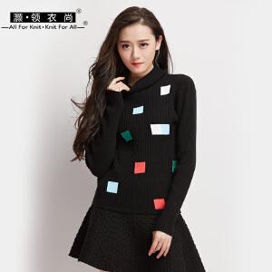 2018秋冬新款女装印花加厚兔绒修身高领毛衣套头长袖女打底针织衫