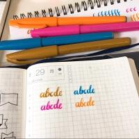 日本进口pentel派通touch水笔 手帐书信练字用 细软毛笔