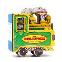 【满300-100】英文原版 迷你玩具车The Mini-Express 迷你玩具书系列 蒸汽火车 小车子 造型书 车轮