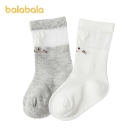巴拉巴拉儿童袜子春季新款女童棉袜保暖幼童时尚简约大方两双装