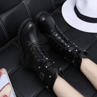 2019春秋季高跟马丁靴女靴子短靴英伦风机车靴粗跟女鞋中跟单靴潮