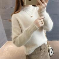 【仿水】毛衣女秋冬季上衣针织衫宽松短款套头打底衫